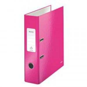 Leitz WOW Lever Arch File A4 80mm Spine for 250 Sheets Pink Metallic