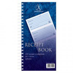 Challenge Duplicate Receipt Book Wirebound 4 Sets per Page 200 Receipts 280x152mm Ref 100080056