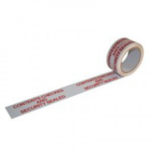 Ambassador Polypropylene Tape Printed Contents Checked White/Red 50mm x66 Metres