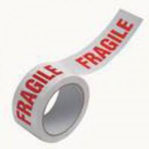 Ambassador Vinyl Tape Printed Fragile White/Red 50mm x66 Metres