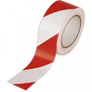 Ambassador Vinyl Tape Hazard White/Red 50mm x33 Metres PVC-50-22-HAZWR
