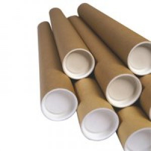 Postal Tube Cardboard with Plastic End Caps L940xDia.75mm [Pack 12]