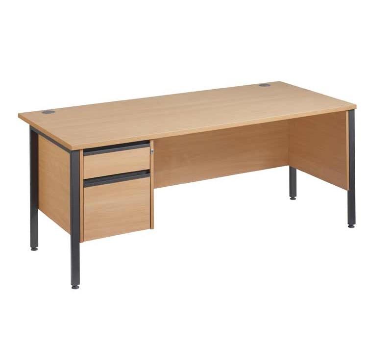 Straight H frame desk - fixed pedestal - modesty panel