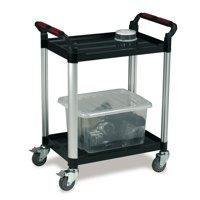 Image for Barton 2 Shelf Plastic Trolley Silv/Blk