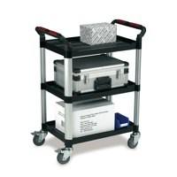 Barton 3-Shelf Standard Plastic Trolley Silver/Black WHTT3SS