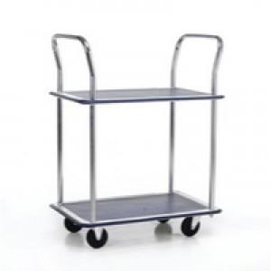 Barton 2-Shelf Trolley with Chrome Handles Silver/Blue PST2