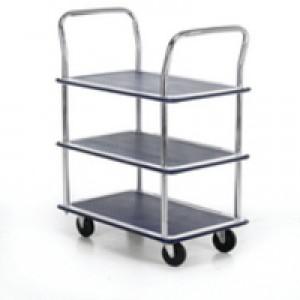 Barton 3-Shelf Trolley with Chrome Handles Silver/Blue PST3