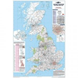 Map Marketing Postcode Areas Map Unframed 12.5 Miles/inch Scale W830xH1200mm Ref BIPA