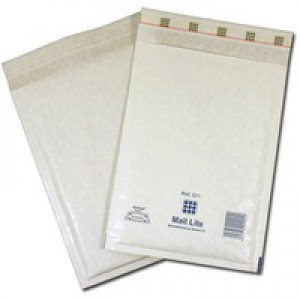 Mail Lite Bubble-Lined Postal Bag Self-Seal White 120x210mm Pack of 100 MLW B/00