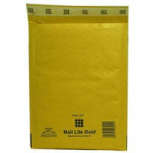 Mail Lite Bubble-Lined Postal Bag Peel and Seal Gold 150x210mm Pack of 100 MLGC/0