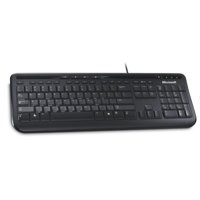Microsoft 600 Wired Keyboard USB Media Centre Quiet-Touch Keys Spill Resistant Design Black Ref ANB-00006