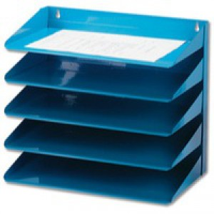 Avery Letter Rack 5-Tier Steel W380xD230xH335mm Blue Ref 605SBLUE