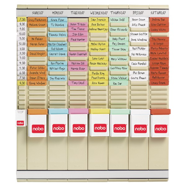 Nobo 7-Day T-Card Kit Weekly Planner Midi Kit Assorted 480x480mm Code 2911080