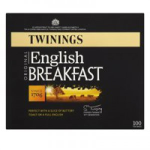 Twinings Tea Bags English Breakfast Fine High Quality Aromatic Ref A00805 [Pack 100]