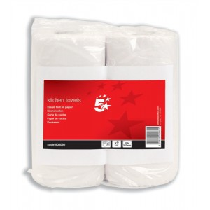 5 Star Kitchen Tissue 229x247mm Sheets 60 per Roll [Pack 2]