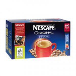 Nescafe Original Instant Coffee Granules Decaffeinated Stick Sachets Ref 5219617 [Pack 200]