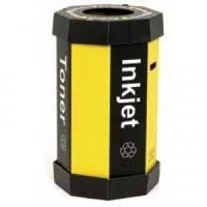 Acorn Cartridge Recycling Bin 60L Black/Yellow Pk 5 059783