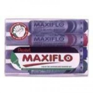 Pentel Maxiflo Whiteboard Marker Fine Bullet Tip Hanging Pack Assorted Pack of 4 YMWL5S-4