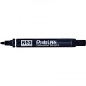 Pentel Permanent Marker Bullet Tip N50 Black Carded XN50-A