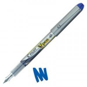 Pilot VPen Disposable Fountain Pen Blue Ink Metallic Grey Barrel SVP-4M-03
