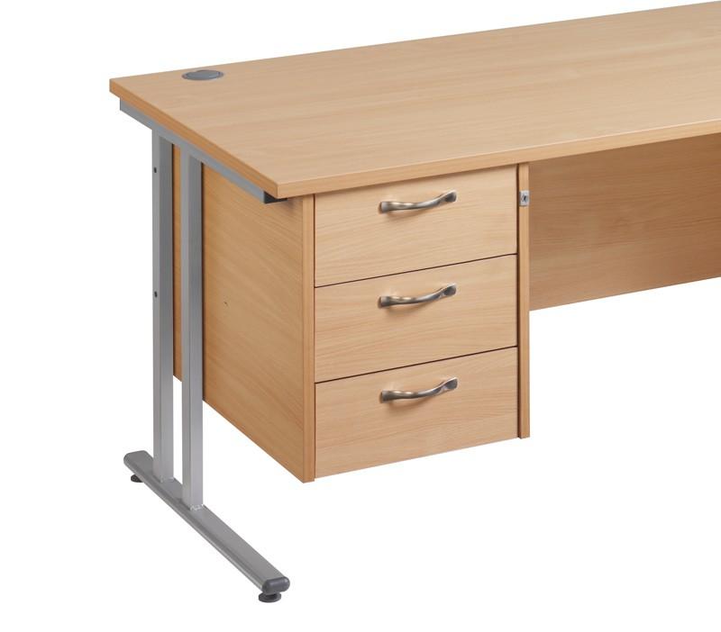 Maestro 25 3 drawer fixed pedestal - oak