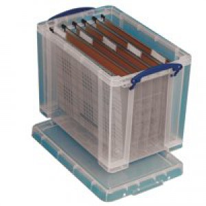 Really Useful 24 Litre Suspension File Box Foolscap Clear 24C