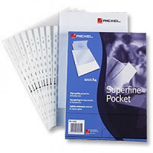 Rexel Superfine Pocket Multipunched Lightweight Polypropylene Top-opening A4 Clear Ref 11040 [Pack 100]