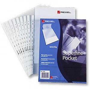 Rexel Superfine Polypropylene Multi Pocket Clear Pack of 100 RSPA4 11040