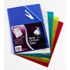 Rexel Nyrex Cut Flush Folder A4 PVC Blue Pack of 25 CA4C 12161BU