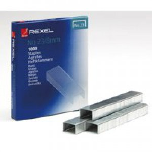 Rexel Heavy Duty Staples No23/8mm Pack of 1000 2101054