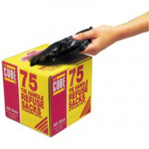 Le Cube Tie-Handle Refuse Sack Dispenser Pack of 75 Black 0481
