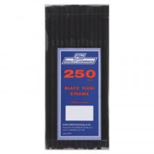 FLEXI STRAWS 210x6mm Pk250 Black