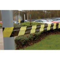 Tape Barrier Stripe 75mm x500 Metres Black/Yellow 304927