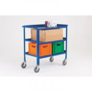 Service Trolley 3-Tier with 125mm Castors Blue 306748