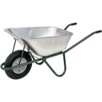 Galvanised Wheelbarrow Single Wheel 110 Litre Metallic Grey/Green 317333