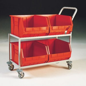 Mobile Storage Trolley c/w 4 Bins Red 321297