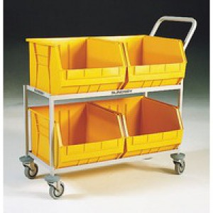 Mobile  Storage Trolley c/w 4 Bins Yellow 321298