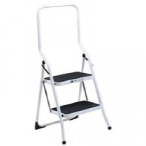 Folding Step Stool 2-Tread High Back White Aluminium 321676