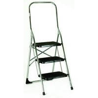 Folding Step Stool 3-Tread High Back Chrome 321679
