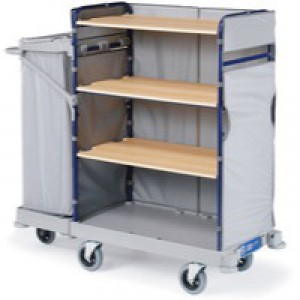 Maid Service Trolley with Bag 1170x530x1280mm Grey 321830