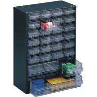 Storage Cabinet Clear Drawer System Dark Grey 324128
