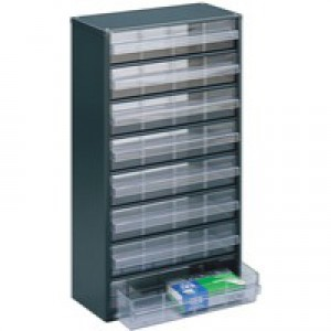Storage Cabinet Clear Drawer System Dark Grey 324234
