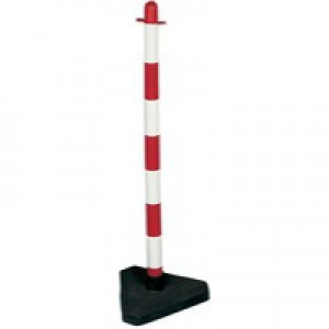 Freestanding Post Triangular Concrete-Weighted Base Red/White 328267