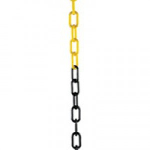 Plastic Chain 10mm Short Link 25 Metre Yellow/Black 328276