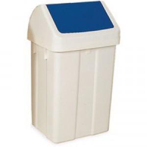 Plastic Swing Top Bin 50 Litre White/Blue 330350