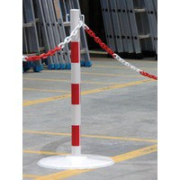 Steel Post 80cm on Base Red/White 349732
