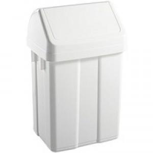 Plastic Swing Top Bin 50L White 365144