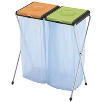 Recycling Bin Sack Holder 2-Compartment Orange/Green 370573 60 Litres