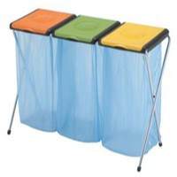 Recycling Bin Sack Holder 3-Compartment Orange/Green/Yellow 370574 60 Litres