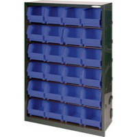 Metal Bin Cupboard with 24 Polypropylene Bins Dark Grey/Black 371833
